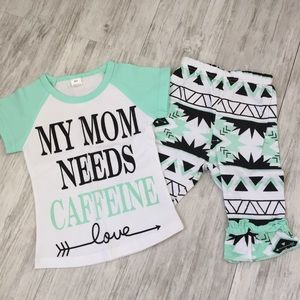 """NWOT """"My Mom Needs Caffeine"""" Outfit - 12-18 Mths."""